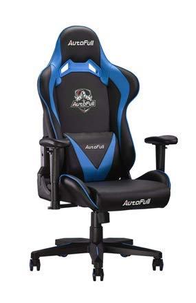 AutoFull Computer Gaming Chair - Verstellbarer, drehbarer Pu-Leder-Drehstuhl mit Kopflehne und Lordosenst¡§1tze Blau ?-