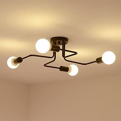 Moderno Lámpara de Techo con 4 Luces E27, Vintage Lámpara de Techo en Metal Iluminación de Techo Industrial para Sala de Estar Dormitorio Cocina, Sin Bombilla, Negro
