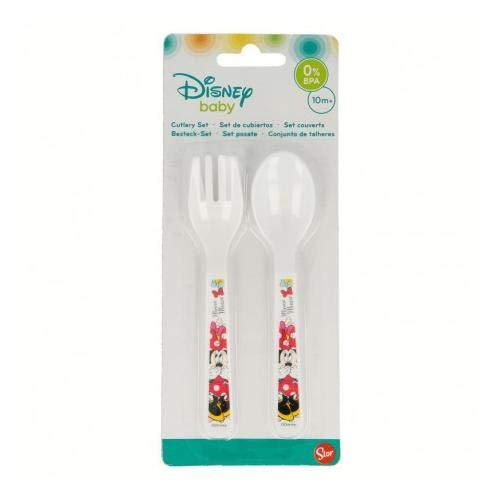 Générique - Set de Couvert Plastique pour Bebe Minnie Mouse Disney - Fourchette Cuillere Enfant Repas - 177