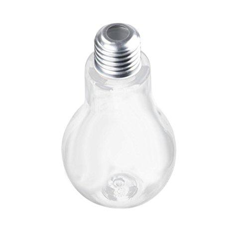 TUDUZ Party Dinner Supplies, Bulb Wasserflasche Brief Niedlich Milch Saft Glühbirnen Tasse Dicht Getränkebecher (Silber, 100ML)