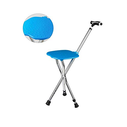 Y-L Opvouwbare wandelstok met ergonomisch handvat met zitting 5 Verstelbare hoogte Led Light Crutch