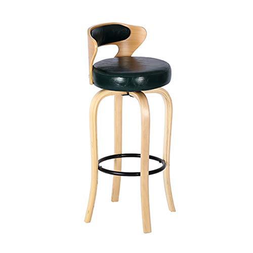 Creative Light luxe solide de bar en bois Chaise 70cm Rotatif avec dossier haut Accueil Tabouret Cafe Bar (Color : Green)