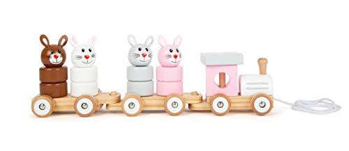 Small Foot 11719 Nachziehzug Hasenfamilie aus Holz, Steckspiel, Nachziehspielzeug und Stapelturm in einem, ab 12 Monaten
