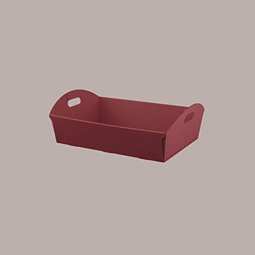 LUCGEL Srl 10 Pz Cesto Vassoio Mini In Cartone ONDA BORDEAUX (320X220H85) Cesti Natalizi In Carta Per Composizione Confezione Regalo Natale E Pasqua Strenne
