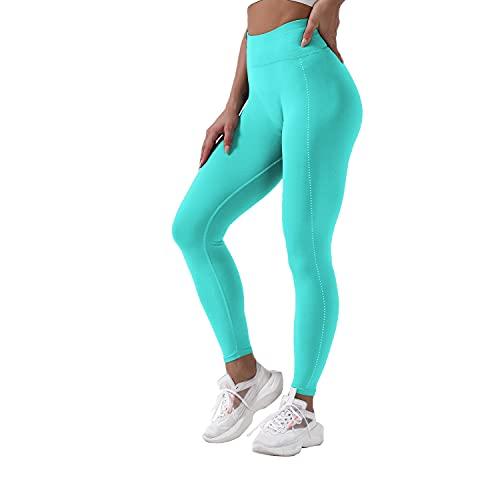 QTJY Pantalones de Yoga elásticos y Suaves Sexis para Mujer, Medias de Cintura Alta a la Cadera, Push-ups sin Costuras, Celulitis, Ejercicio, Gimnasio, Pantalones de chándal F S