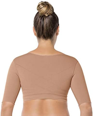 Leonisa Seamless Upper Arm Shaper Slimming Compression Vest with Posture Corrector Beige Small product image