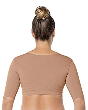 Leonisa Seamless Upper Arm Shaper Slimming Compression Vest with Posture Corrector Beige Small