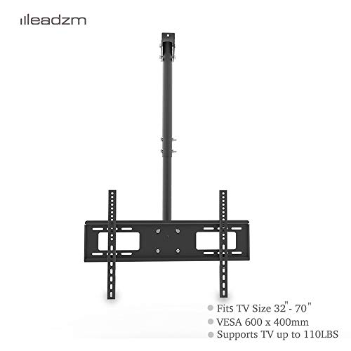 Adjustable Ceiling Mount TV Wall Bracket Roof Rack Pole Retractable Rotating and Tilting TV Ceiling Mount for 32-70Inch Flat Screen Holds up to 110lbs