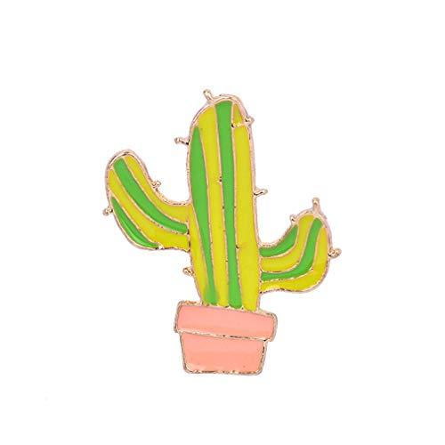 LnLyin Nette Obstpflanze Brosche Frauen Corsage Kinder Geburtstagsgeschenk Kragen Revers Abzeichen Schmuck, C1050-1 Kaktus
