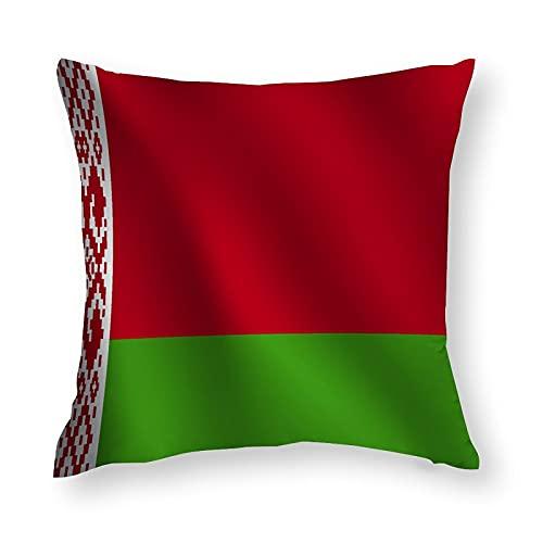 Kissenbezug mit Weißrussland-Flagge, quadratisch, dekorativer Kissenbezug für Sofa, Couch, Zuhause, Schlafzimmer, für drinnen & draußen, niedlicher Kissenbezug 45,7 x 45,7 cm