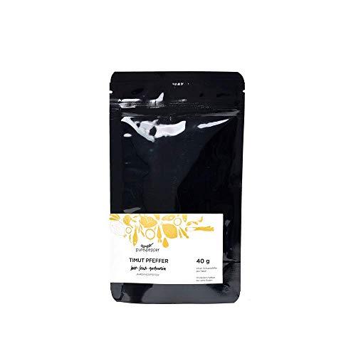 Pure Pepper -Timut Pfeffer - 40g - Szechuan-Pfeffer aus Nepal - sortenrein handgepflückt - Jahrgangspfeffer in bester Qualität | Nachfüllpack