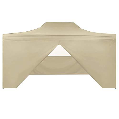 Festnight Carpa Desplegable Exteriores Cenador para Patio con 4 Paredes 3x4,5 M Color Blanco Crema