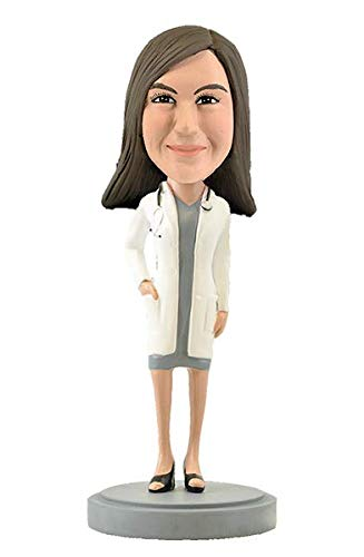 Custom Bobbleheads - Female Doctor in Dress Body - Personalized Gifts