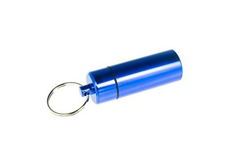 Pillendoos van aluminium met sleutelring in blauw, groot, sleutelhanger