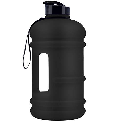 TOOFEEL - Botella de Agua Grande de 2,2 L, Capacidad de 73 onzas, sin BPA, a Prueba de Fugas, para Gimnasio, Fitness, Atletismo, al Aire Libre, Camping, Senderismo, 2.2L dishwashersafe Coated Black