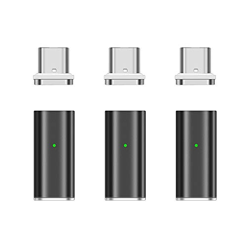 NetDot Gen10 Magnetic Fast Charging USB-C to USB-C Adapter Converter Compatible with Type-c Smartphones(3 Pack Black)