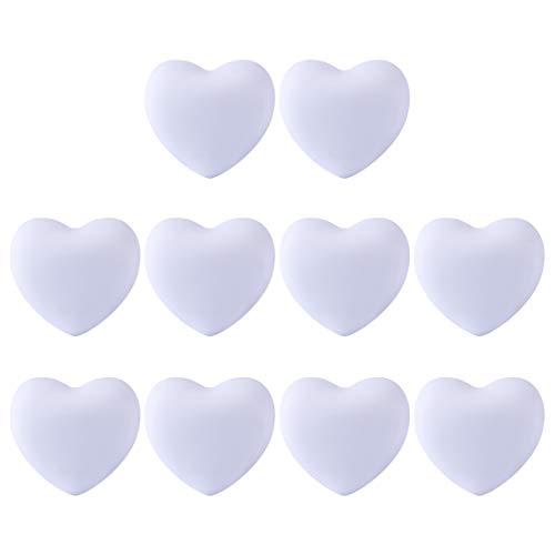 POXL, 10 pomelli morbidi per bambini, a forma di cuore, per cassetti, armadi, armadietti, cassetti 4*3.8*2.4cm bianco