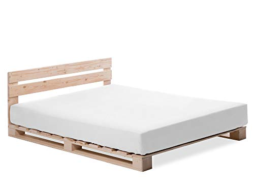 PALETTI Palettenbett inklusive Kopfteil Massivholzbett Holzbett Bett aus Paletten mit 11 Leisten, Palettenmöbel Made in Germany, 120 x 200 cm, Fichte Natur