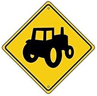 Tractor Symbol Farm Machinery Crossing Traffic Xing Signs Aluminum Metal Signs Vintage Warning Signs for Home Decor Yard Gate Sign 12