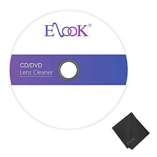 Elook CD Player Cleaner, Laser Lens Cleaning Disc for CD/VCD/DVD Player,Included Microfiber Cloth.