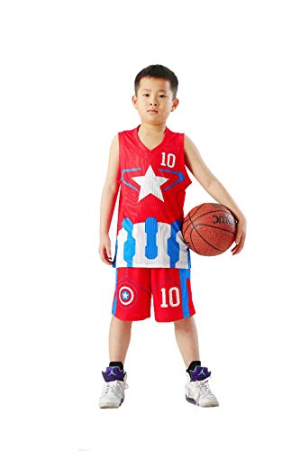 TANERDD Kids Sports Shorts Sets Fußball Basketball Uniform Trikots Trainingsanzug Trainingsanzüge Sommer Kurzarm Set für 4-13 Jahre,Rot,110cm