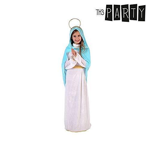 Atosa-32539 Disfraz Virgen Niña Infantil, Color Blanco, 5 a 6 años (32539)