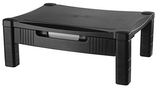 Kantek Single Level Height-Adjustable Monitor/Laptop Stand with Removable Drawer, 17-Inch Wide x 13-Inch Deep x 3 to 6.5-Inch High, Black (MS420)