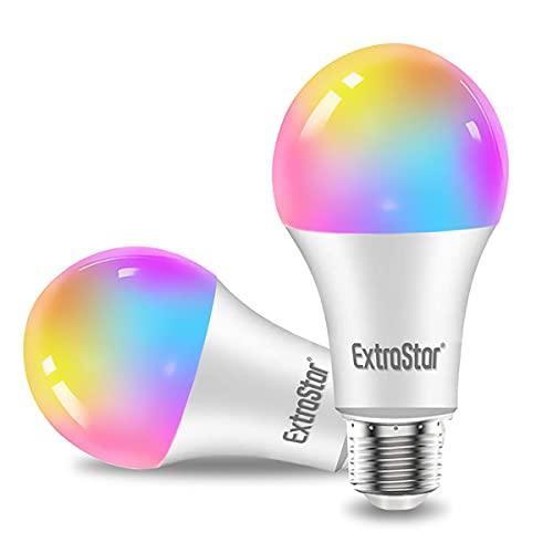 EXTRASTAR 2 Pack Bombilla Alexa LED Intelligente E27, 15W, 1400lm, Regulable Multicolor + Luz Cálida o Blanca, 16 Millones de Colores, Funciona con Alexa y Google Home