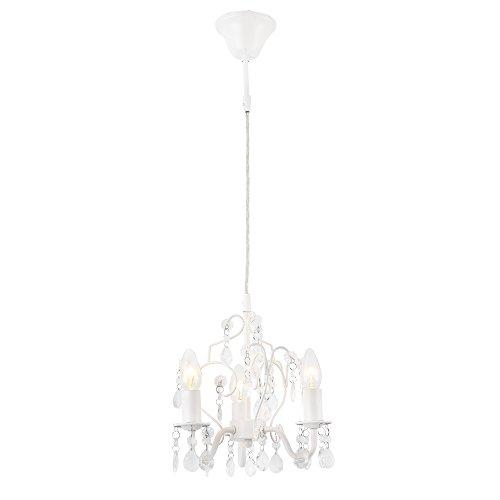 lux.pro] Lampadario a Corona con Cristalli Artificiali a 3 Barre - 3 x E14-140 x Ø 26 cm - Bianco