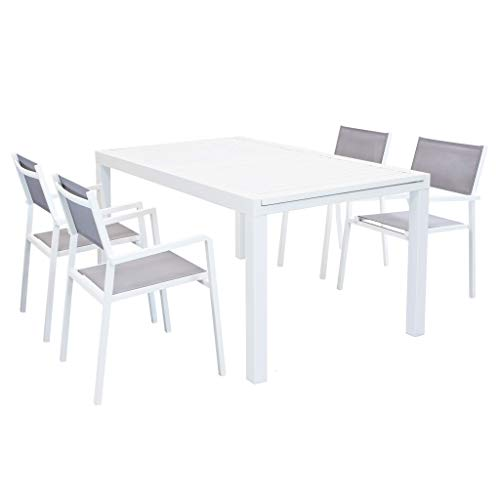 MilaniHome Set Tavolo Giardino Rettangolare Allungabile 160/240 X 90 con 4 Poltrone in Alluminio Bianco E Textilene da Esterno