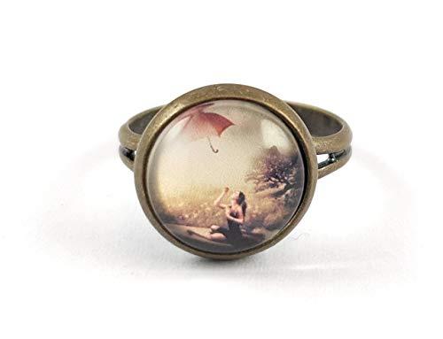 Stechschmuck Ring Handmade Vintage Regenschirm Dame Landschaft Bronze Antik Damen Kitsch Kawaii 14mm