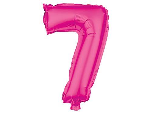 Trend-world Ballon XXL Rose Pink en Forme de Chiffre Gonflable en Aluminium de qualité supérieure Numéro Environ: 80 cm :BAL-137 Chiffre 7