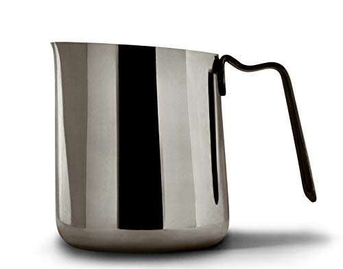 Fellow Eddy Steaming Pitcher, Milk Frothing and Precision Latte Art, Measurement Aids, Fluted Spout, Sharp Front Crease, 304 18/8 Stainless Steel - Graphite 12oz