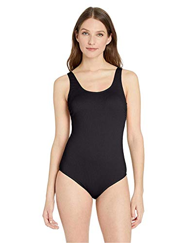 Catalina Women's Standard Ribbed One Piece Swimsuit, Black, Small