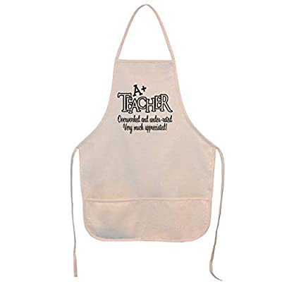 Style In Print Aprons for Women & Men A+ Teacher Overworked Under Rated Very Appreciated Housewarming Gifts