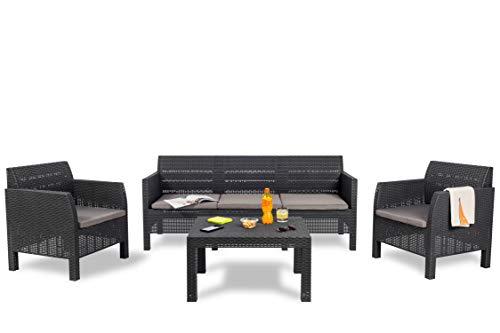 Toomax Set mobili da Giardino Matilde 5 posti, Composto da DIVANETTO A 3 POSTI, 2 POLTRONE E TAVOLINO Grande, in Resina Anti-UV ed intemperie, Colore Antracite, Art 115