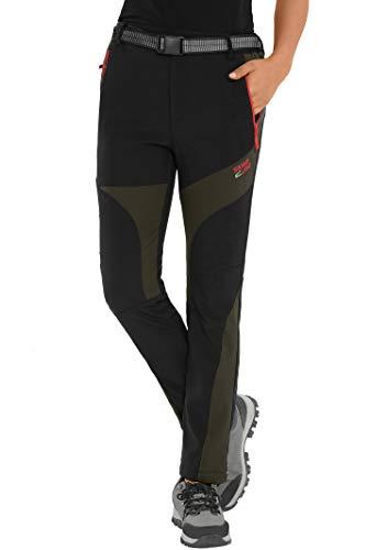 HAINES Damen Softshellhose wasserdichte Wanderhose Trekkinghose Winter Outdoor Funktionshose,Schwarz,Gr.-EU-M/Asia-XL