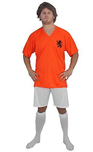 Kit de disfraz y peluca de Johan Cruyff para adultos, diseo de ftbol holands