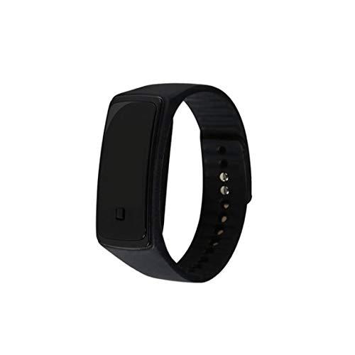 El reloj unisex del reloj del LED Digital con silicona brazalete deportivo reloj de pulsera impermeable para Niños Niñas pulsera Negro del reloj (batería incluida) accesorios de vestir del reloj