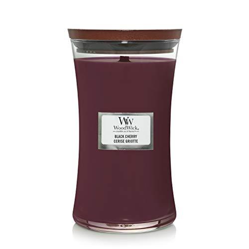 Große WoodWick Duftkerze im Sanduhrglas mit knisterndem Docht, Black Cherry, bis zu 130 Stunden Brenndauer