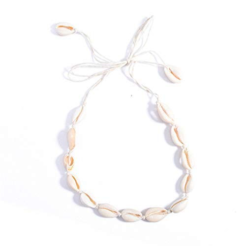 Underleaf Natural Shell Choker Necklace Handmade Cotton Rope Woven Chain Clavicle Necklace For Women Girls