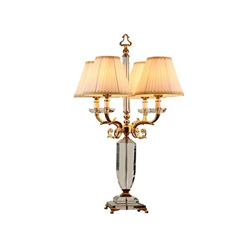 Lámparas Lámpara de Mesa de Cristal neoclásica, lámpara de Mesa Americana neoclásica, diseño de Velas, 4 portalámparas (80 cm de Altura) Lámpara de Mesa