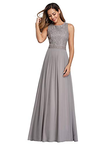 Ever-Pretty Abendkleid Damen Ärmellos Rundhals A-Linie Lange Brautjungerkleid Grau 38