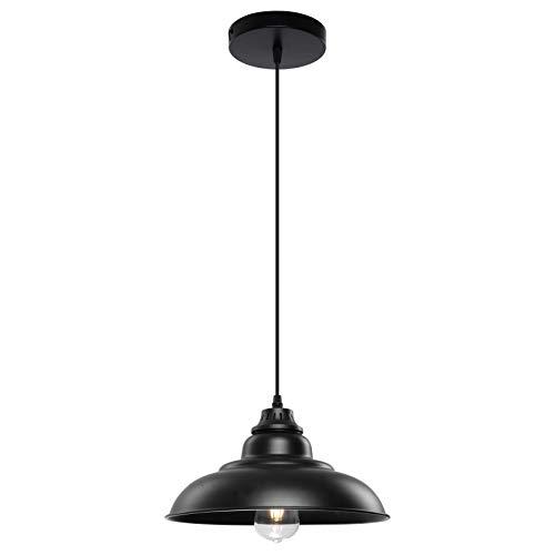 Pendant Lights, Lika Industrial Barn Ceiling Light Fixtures Black Hanging Pendant Lighting for Kitchen Island, Dining Room, Foyer (Black and Flat(One Pack))