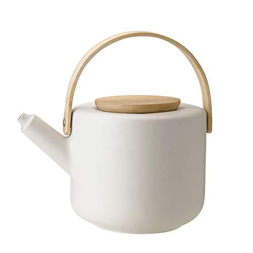 Stelton Teekanne Theo - Rustikale Steingut-Kanne, Deckel & Griff aus Bambus - Modernes skandinavisches Design, Gusseisen-Finish - Stilvolles Tee-Accessoire - 22x16 cm, 1.25 Liter, sandfarben