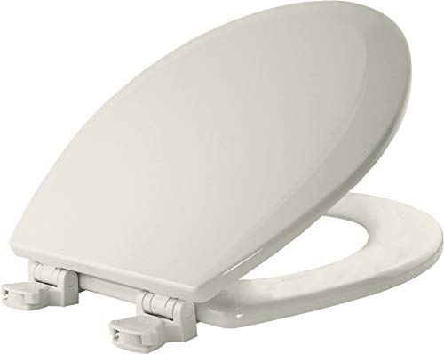 BEMIS 500EC 006 Toilet Seat with Easy Clean & Change Hinges, ROUND, Durable Enameled Wood, Bone