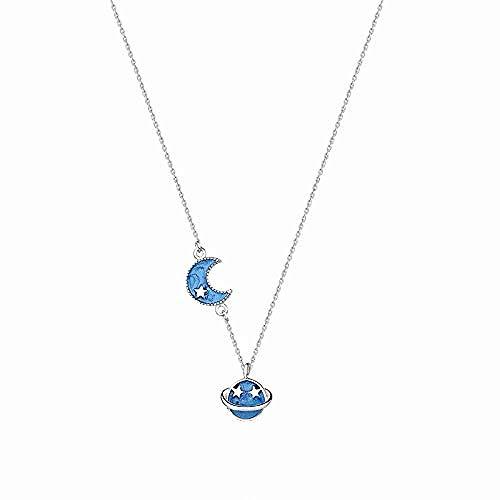 GLLFC Collar para Mujer Collar Hombre Collar de Plata Modelo de Moda Mujer Planeta Azul Luna Cadena de clavícula de Plata esterlina S925 Collar Colgante Niñas Niños Regalo