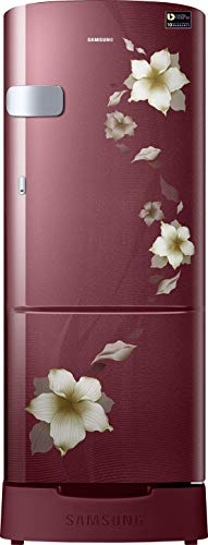 Samsung 192 L 3 Star Inverter Direct Cool Single Door Refrigerator(RR20T1Z2YR2/HL, Star Flower Red, Base Stand with Drawer)