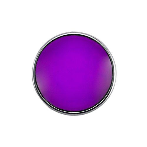 Preisvergleich Produktbild Quiges Damen Click Button 18mm Chunk Versilbert Lila für Druckknopf Zubehör