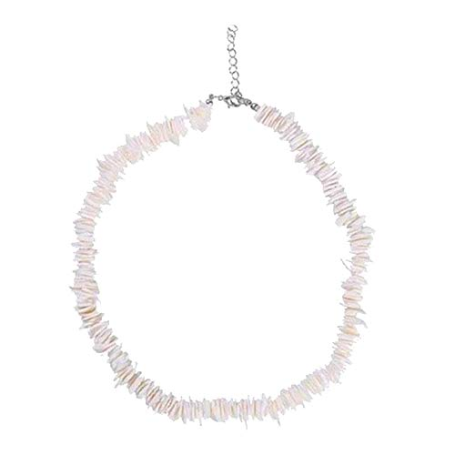 Women White Conch Clam Chips puka Shell Necklace Collar Choker with Extended Chain for Girls Men's Women Boys Native Rose Hawaiian Beach Ajustable Necklace (White)